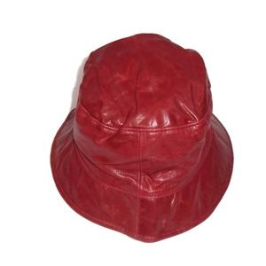 COACH Leatherware 100% Leather Hat Cap Red P / S